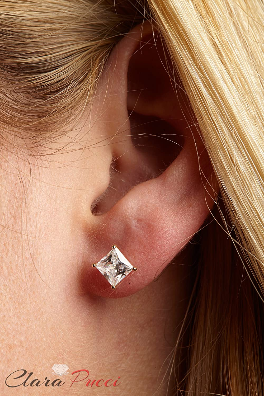 Clara Pucci 1.90 CT Princess Brilliant Cut Solitaire Stud Earrings in 14k Yellow Gold Screw Back CP B5EAR 95