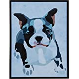 "Amazon Brand – Rivet Modern Abstract Puppy Black, White and Pink Print Wall Art in Black Frame, 11.5"" x 14.5"""
