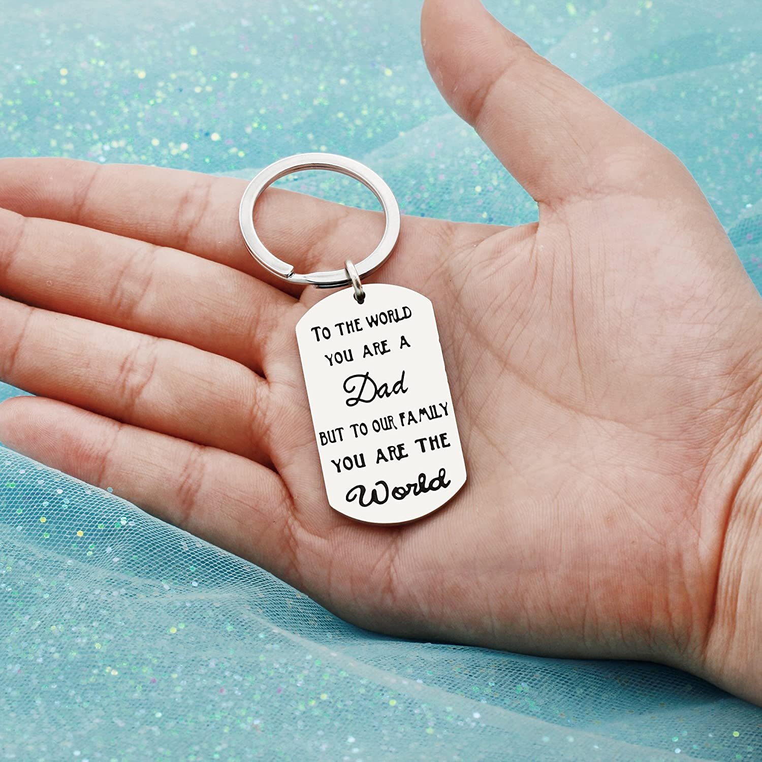 Father Key Chain Ring Father Day Gifts Dad Papa Family Key Holder - to The World You are A Dad But to Our Family You are The World AGR8T