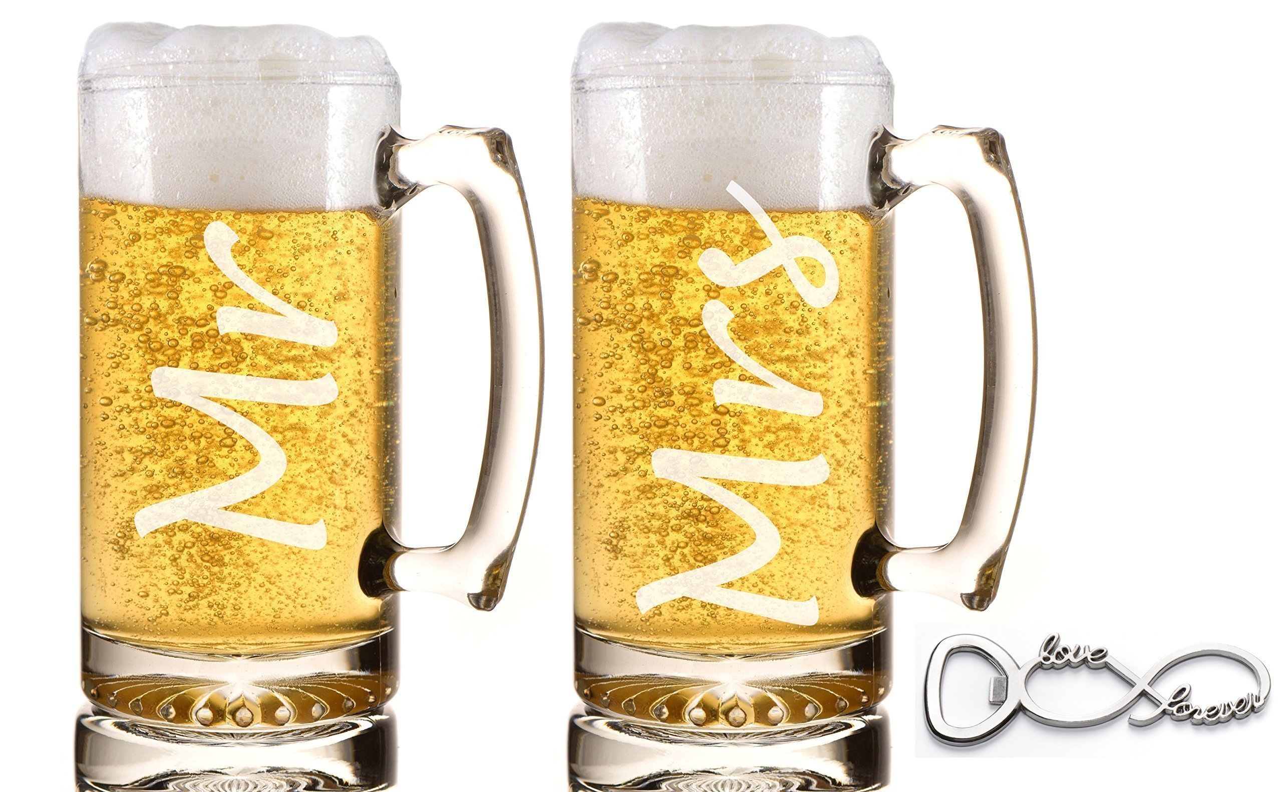 Mr. and Mrs. Beer Mug Gift Set Weddings Engagements Couple Gifts Anniversaries Heavy Duty Beer Mugs with Handles Beer Gifts