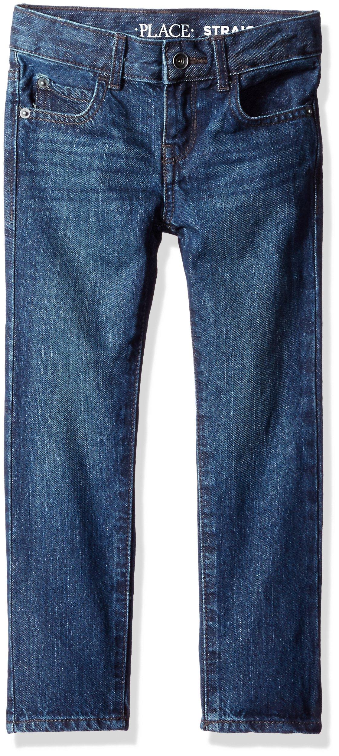 The Children's Place Little Boys' Straight Leg Jeans, Deep Blue 9293, 7
