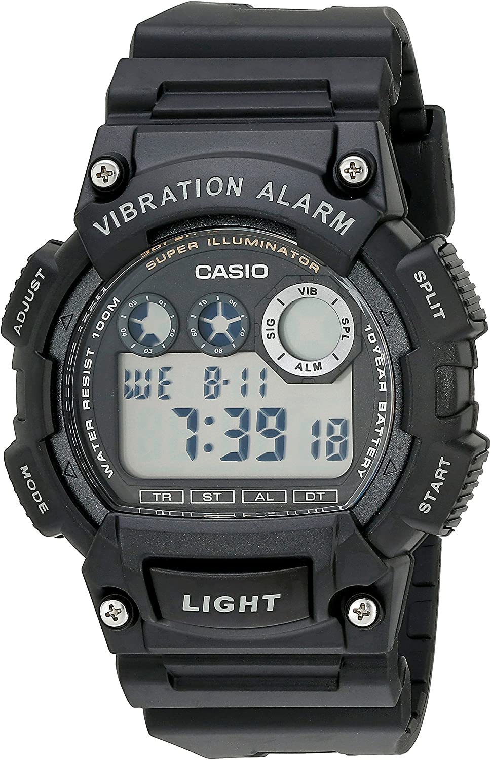 Casio Men s W735H-1AVCF Super Illuminator Watch With Black Resin Band