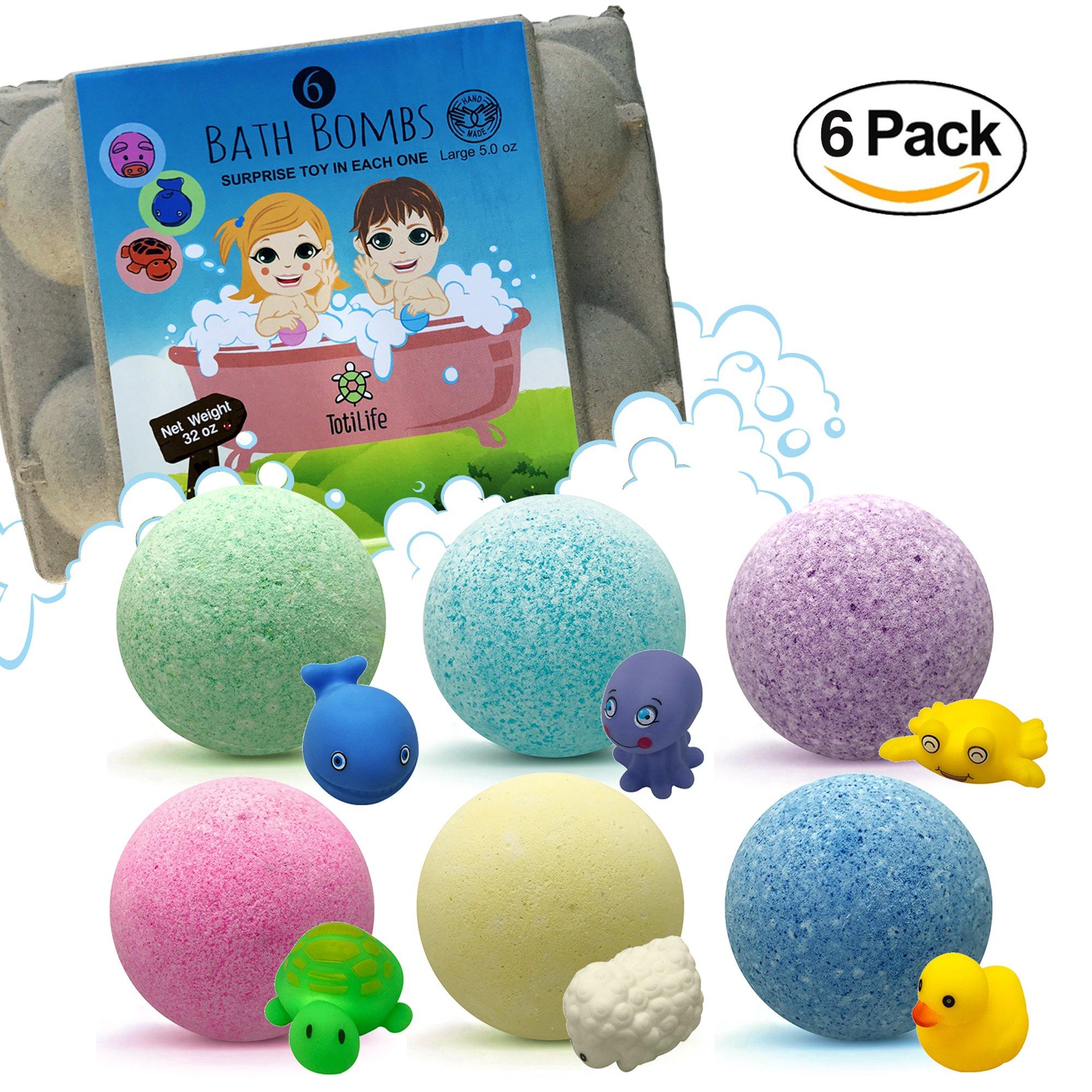 Amazon Kids Bath Bombs Gift Set with Surprise Toys 6x5oz