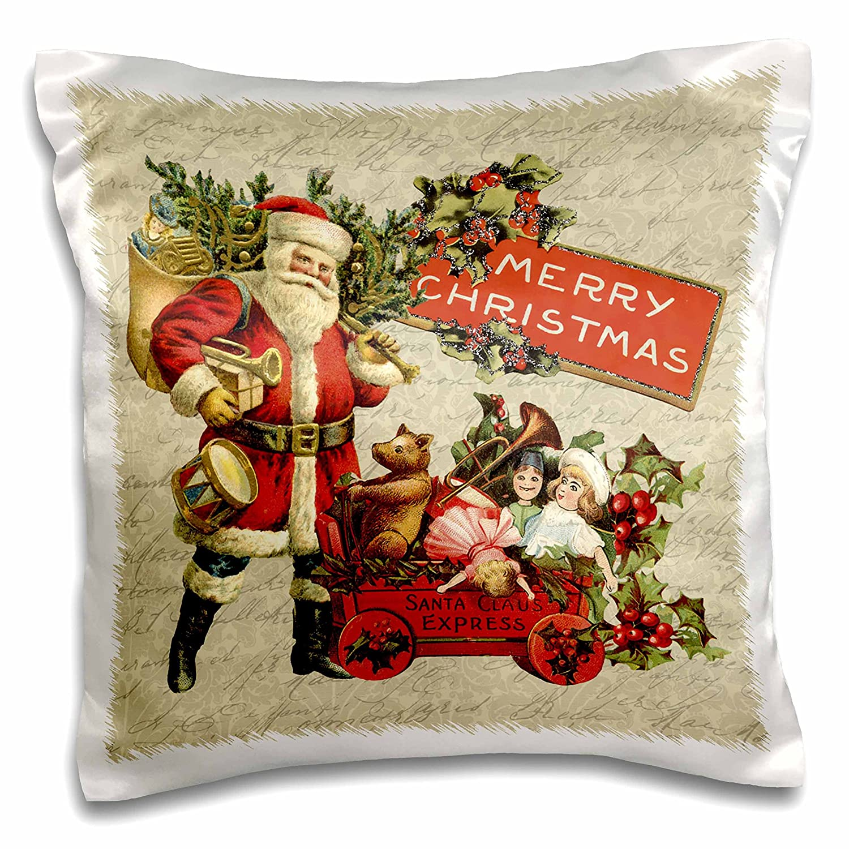 3drose Andrea Haaseクリスマスヴィンテージ – Nostalgic Santa Claus with ToysクリスマスIllustration – 枕ケース 16 x 16