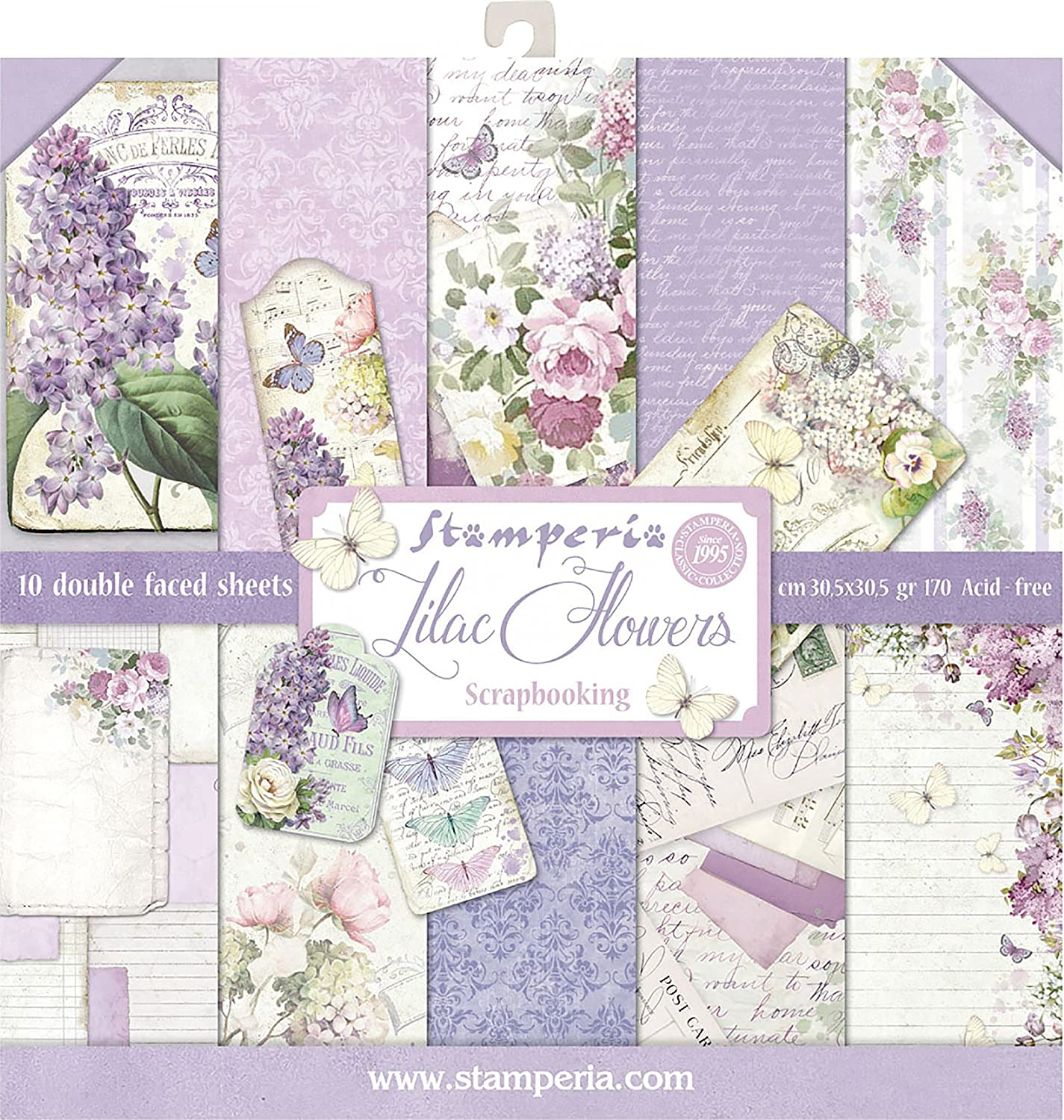 Stamperia Double-Sided Paper Pad 12X12 10/Pkg-Lilac, 10 Designs/1 Each Stamperia International