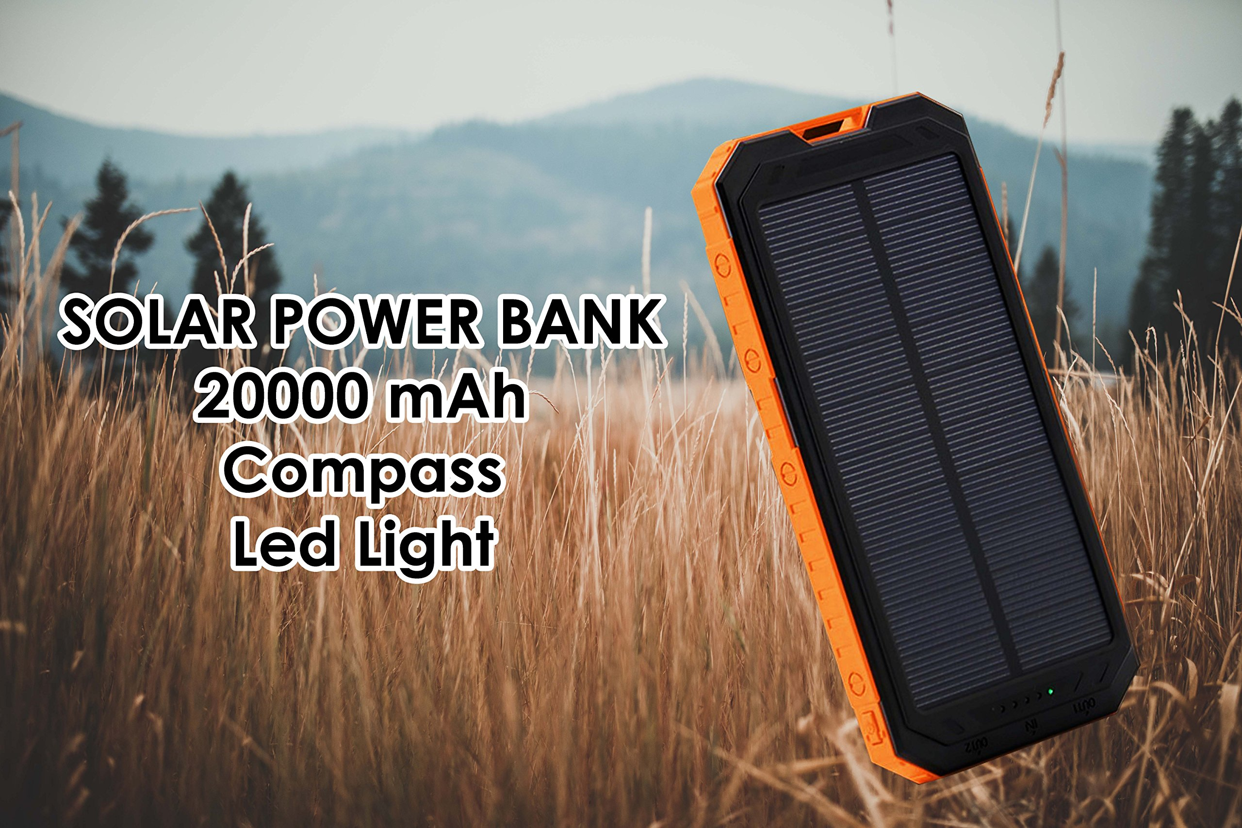 Solar Power Bank Dual Portable Charger PowerBank 20000 mah LED Compass for Android IOS Laptops