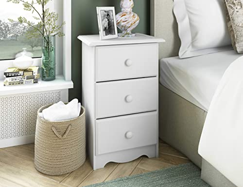 100 Solid Wood 3-Drawer Night Stand by Palace Imports, 5521, White, 28 H x 18 W x 16 D. Requires Assembly.
