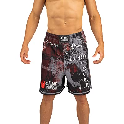 4-Time Shorts, MMA, Fight Shorts, WOD, BJJ, NoGi, Powerlifting, Crossfit, MMA, Muay Thai, Jiu Jitsu, Black, Camo, Blue, Red (Sizes: Youth 3XS to Adult 3XL): Clothing