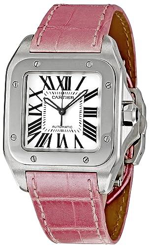 CARTIER SANTOS 100 RELOJ DE MUJER AUTOMÁTICO CORREA DE CUERO W20126X8: Amazon.es: Relojes