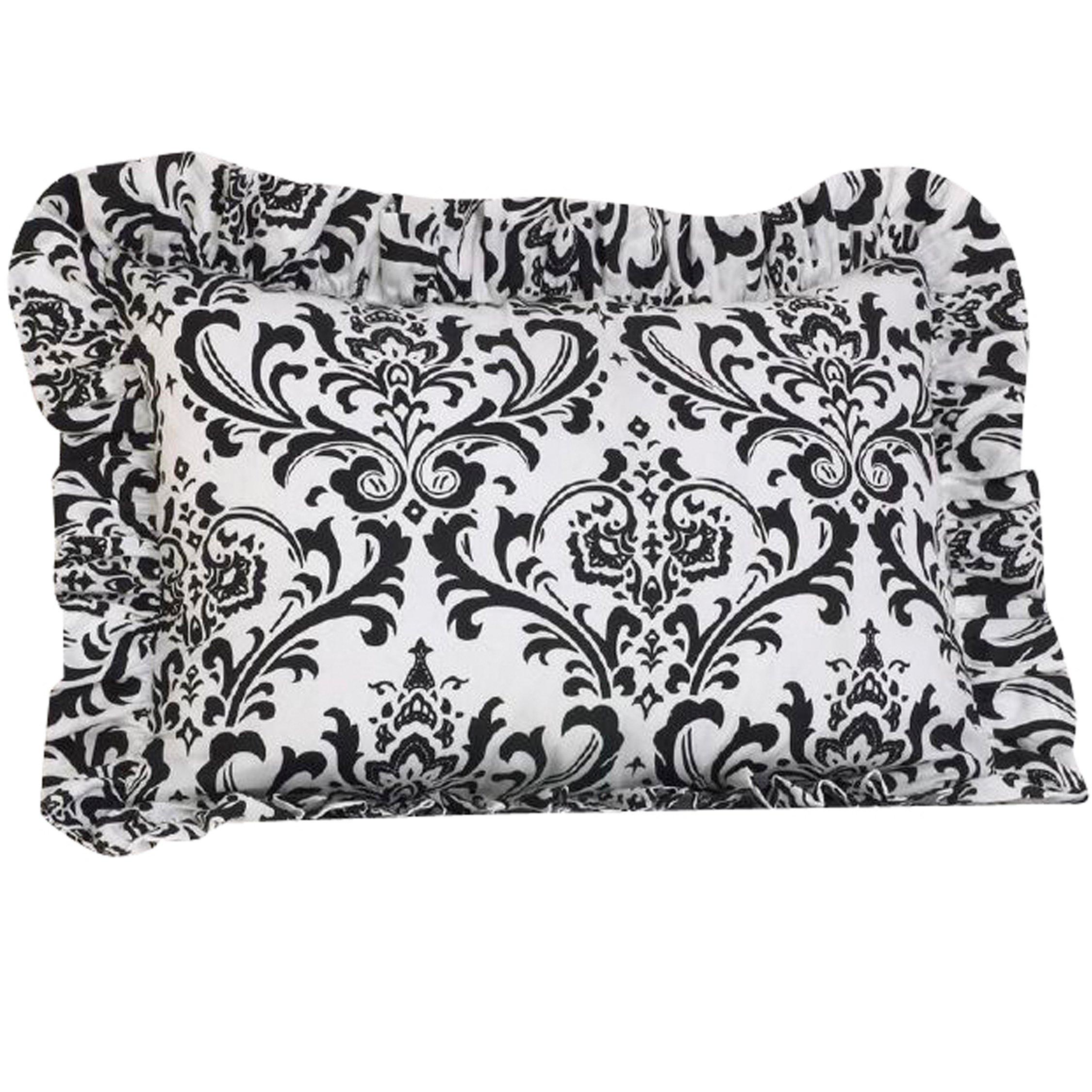 Cotton Tale Designs 100% Cotton Black & White Floral Damask Standard Ruffled Pillow Sham - Girl - Pillow Cover