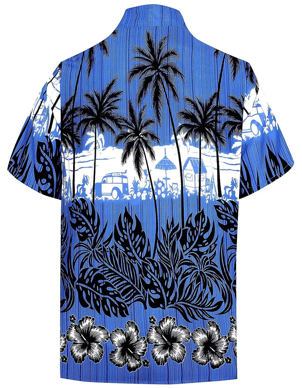 LA LEELA Shirt Casual Button Down Short Sleeve Beach Shirt Men Aloha Pocket 211