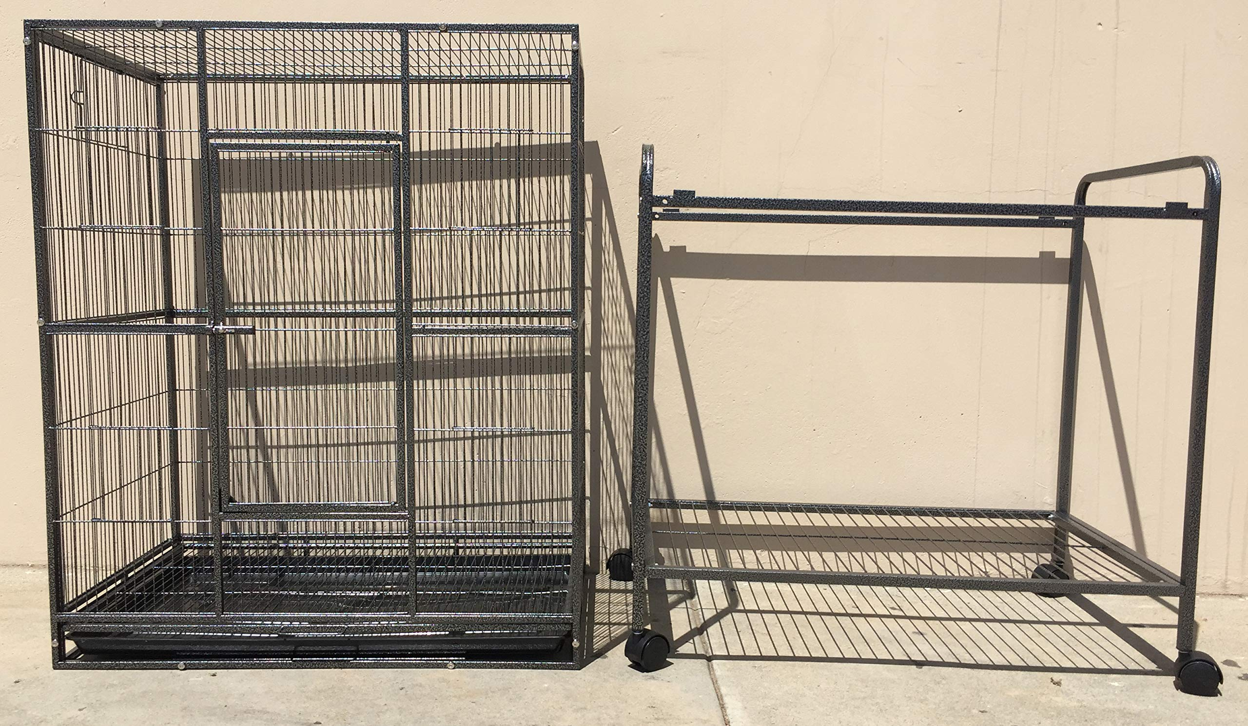 Mcage New Large Wrought Iron 4 Levels Ferret Chinchilla Sugar Glider Cage 30-Inch by 18-Inch by 63-Inch with Stand on Wheels