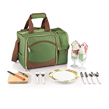 Picnic Time Malibu Insulated Cooler Picnic Tote with Service for 2, Pine Green