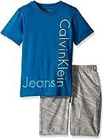 Calvin Klein Little Boys' 2 Piece Set Tee Shirt With Printed Short