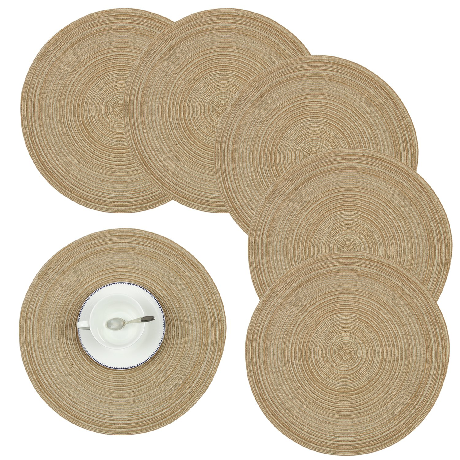 Homcomoda Round Table Placemats, Placemats Kitchen Table Set 6-14 inch (Brown)