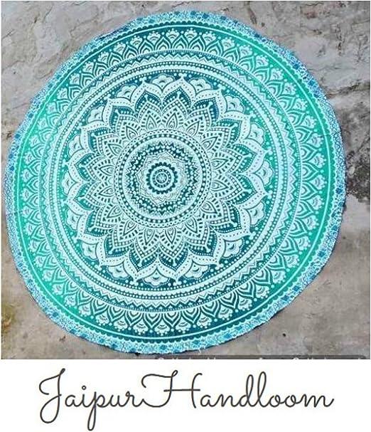 Jaipur Handloom Tapiz redondo de algodón, diseño de mandala, para ...