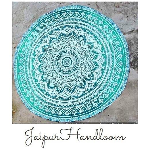 Jaipur Handloom Tapiz redondo de algodón, diseño de mandala, para uso como toalla de playa, mantel o alfombrilla de yoga, 180 cm