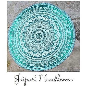 quot jaipurhandloom indien Mandala rond roundie Tapisserie Couverture de plage  hippie Boho Gypsy coton Nappe 5327b8abef9