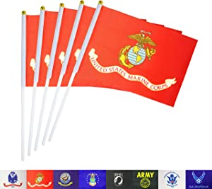 TSMD US Marine Corps Stick Flag 50 Pack Small Mini Handheld United States Military Polyester Flags On Stick,Decorations Supplies for Army Party Events Celebration
