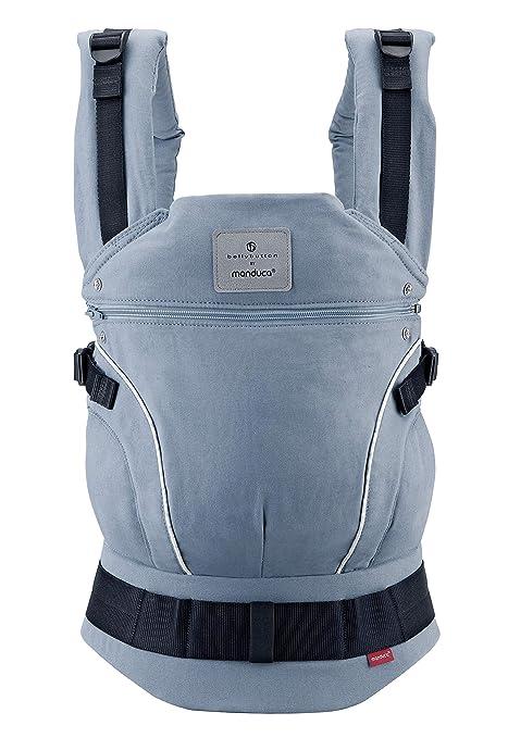 manduca First > SoftCheck blue < Portabebé ergonómico de algodón orgánico con cinturón de cadera y