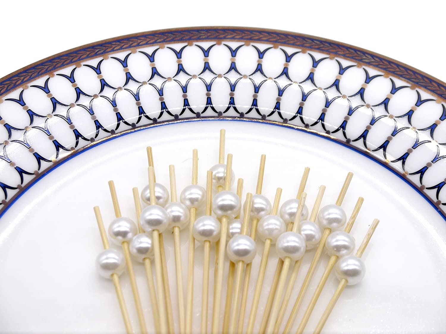 PuTwo Cocktail Sticks 100 Counts Cocktail Toothpicks Handmade Natural Bamboo Cocktail Pick Eco-Friendly Appetizers Sticks for Cocktails Appetizers Fruits Desserts Party Supplies Sliver Pearls
