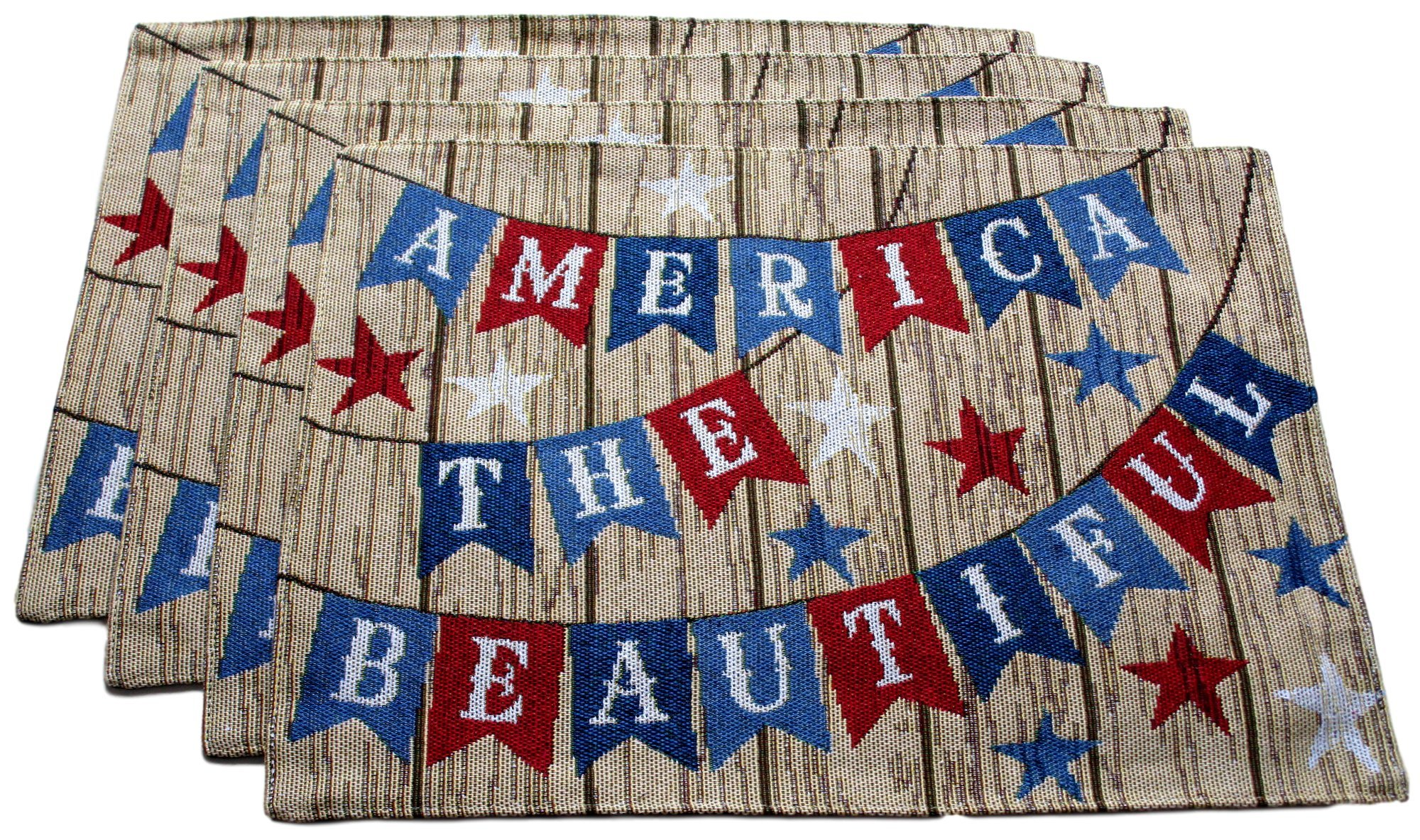 Patriotic Americana Woven Tapestry Place Mats - Set of 4 (America the Beautiful)