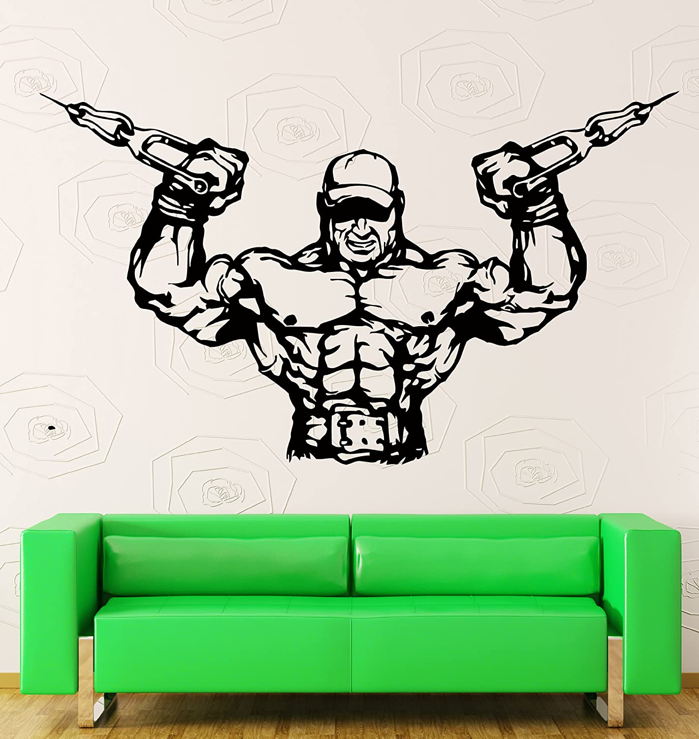 Amazon vinyl decal wall sticker bodybuilder bodybuilding amazon vinyl decal wall sticker bodybuilder bodybuilding fitness crossfit decor z2201i m 21 in x 35 in home kitchen amipublicfo Images
