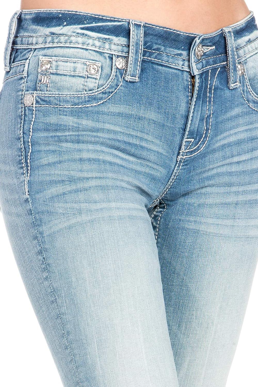 Miss Me Womens Light Wash Cross Skinny Jeans
