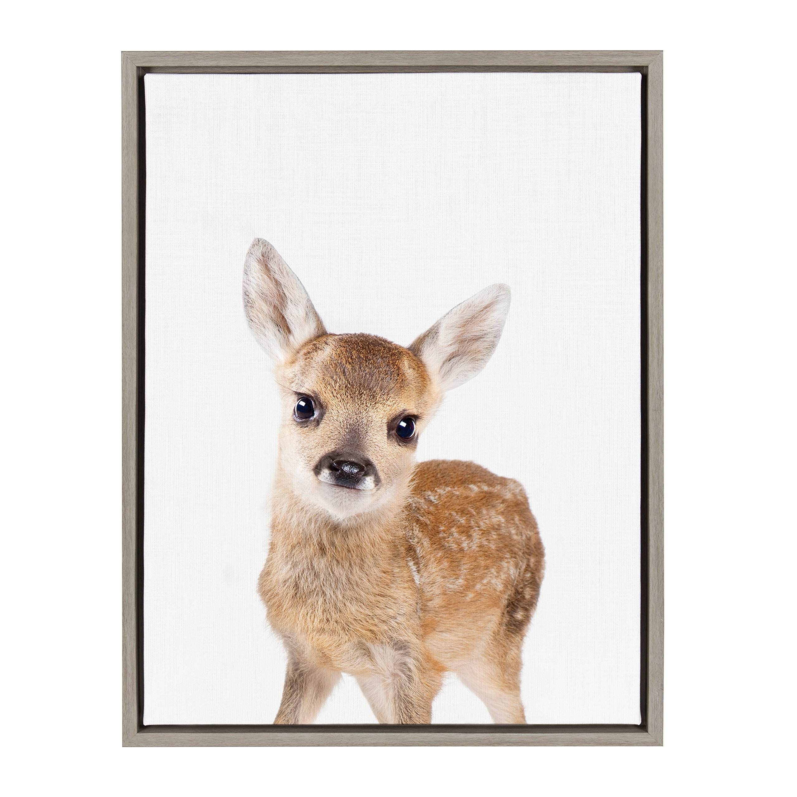 Kate and Laurel - Sylvie Baby Deer Animal Print Portrait Framed Canvas Wall Art by Amy Peterson, Gray 18 x 24