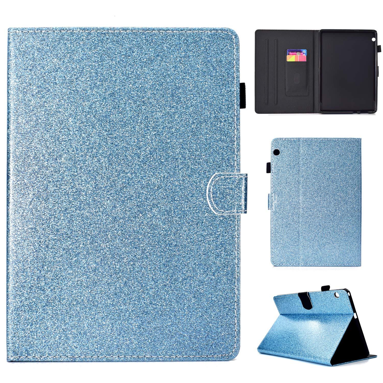 Huawei MediaPad T3 10.0ケース 高級本革ケース スタンド付き フリップカバー ハンドメイド Huawei MediaPad T3 10.0用 ブルー   B07LCJ6B26