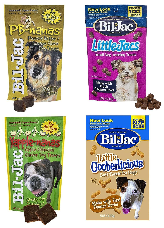 Bil-Jac Treats 4 Bag Combo Pack Peanut Butter Nanas Dog Treats 4oz, Liver Treats 4oz, Yapple-Nanas 4oz, and Little Gooberlicious 4oz