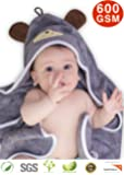 """Premium Hooded Baby Towel, 100% ORGANIC Bamboo, FREE Baby Bib, Perfect Baby Shower Gift, 35x35"""" for Newborns Infants Toddlers & Kids, for Boys and Girls at Bath Pool & Beach, Better than Cotton (GRAY)"""