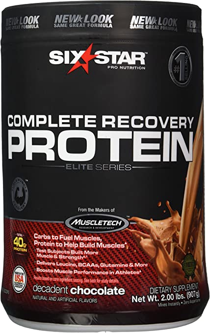 Six Star Pro Nutrition Elite Series Recovery Protein Powder, Chocolate, 2 Pound(Packaging may vary) by Six Star