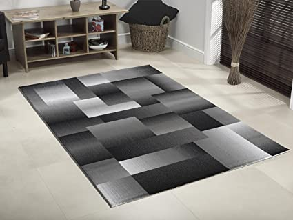 Tappeto moderno Design Quadrato nero grigio diverse misure - 160 ...