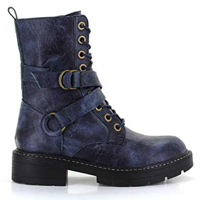 cbb797c143b Seven7 Women's Combat Boot Cardi B Lace-Up Vegan Leather Lugged Rubber  Platform with Buckle Straps Trendy Boot