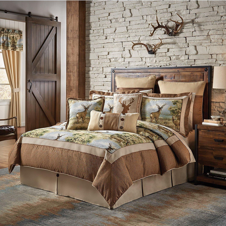4pcブラウン鹿キャビンテーマ掛け布団キングセット、シェニール織ジャカード、ハンティングロッジ寝具Forest Woods Southwestパターンネイティブアメリカン素朴な動物国 B073814992