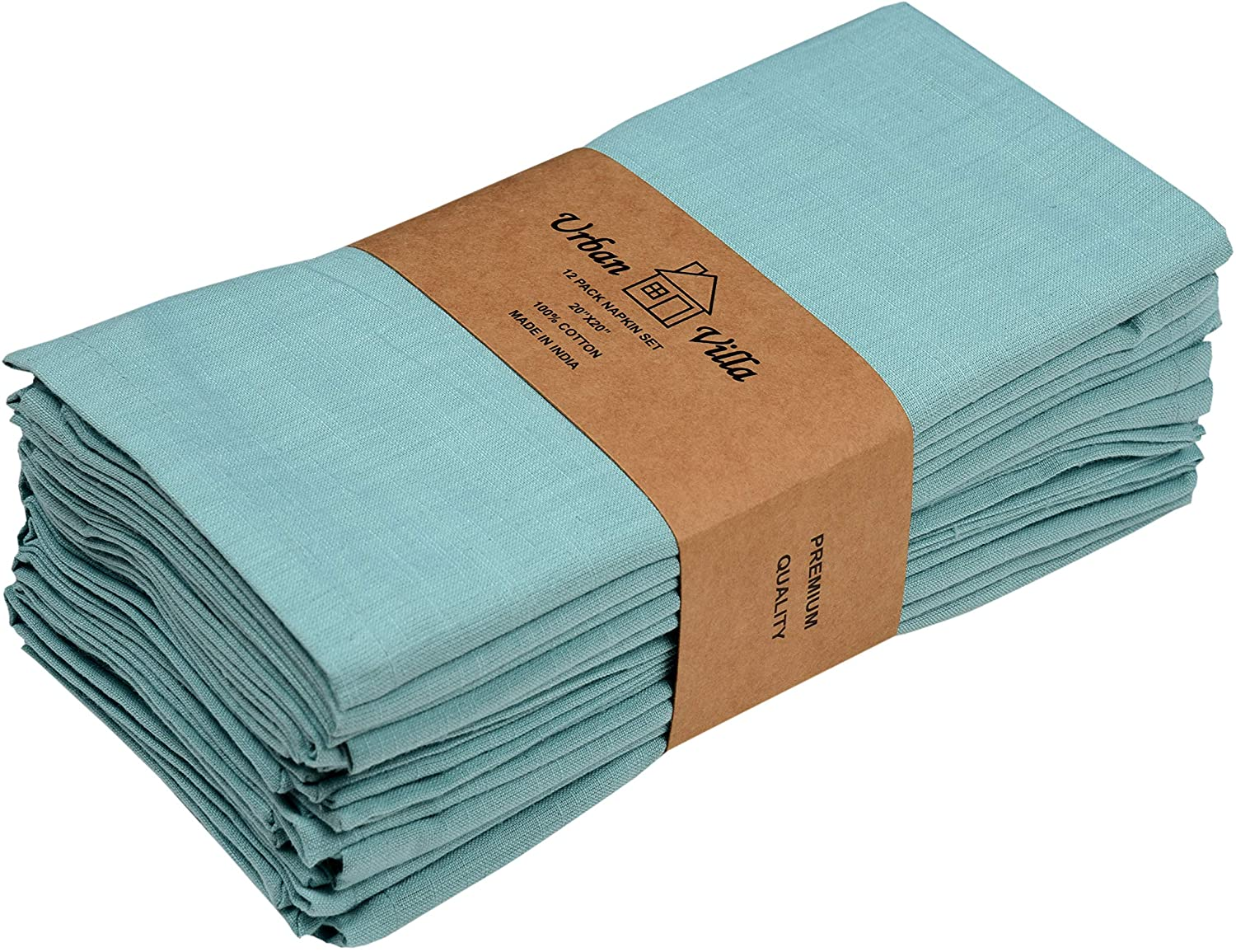 Urban Villa Solid Slub Aqua Color Dinner Napkins Everyday Use Premium Quality 100% Cotton Set of 12 Size 20X20 Inch Over sized Cloth Napkins with Mitered Corners Ultra Soft Durable Hotel Quality: Kitchen & Dining