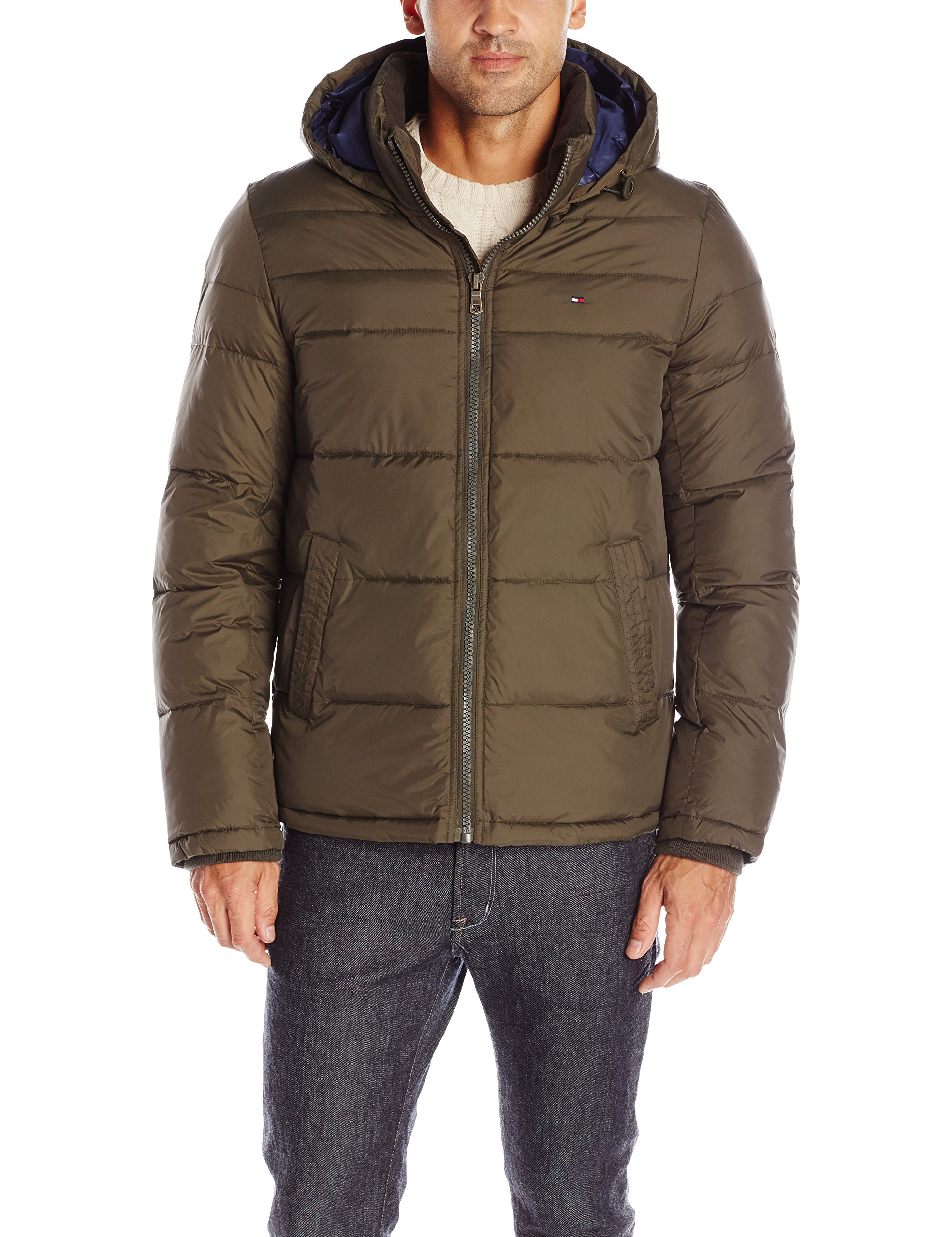 Tommy Hilfiger Men's Classic Hooded Puffer Jacket, Olive, XXL