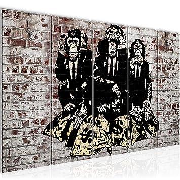 Bilder Banksy Street Art Affen Wandbild 200 x 80 cm - 5 Teilig Vlies ...