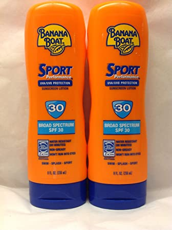 2-pack 8 Ounce Banana Boat Water Resistant Sport Performance Broad Spectrum SPF 30 Sunscreen Lotion 2 Bottles for 16 Ounces Total Swim Splash Sport – Up to 80 Minutes Water Resistant