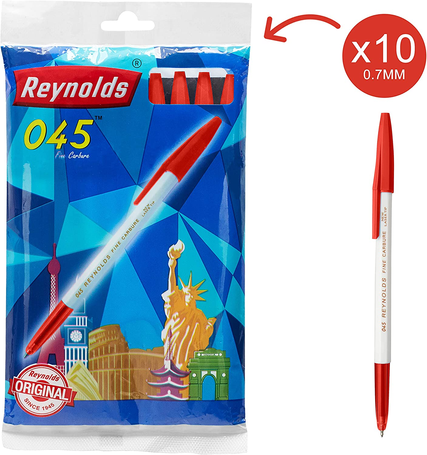 Reynolds 045 Ball Pen - Red, Pack of 10