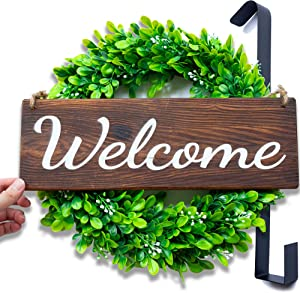 LITTLE IRIS Rustic Welcome Sign for Front Door with 15'' Artificial Boxwood Wreath and 15'' Wreath Hanger - Spring/Fall Decor for Home, Front Door Decor, Outdoor Welcome Signs for Porch Decor