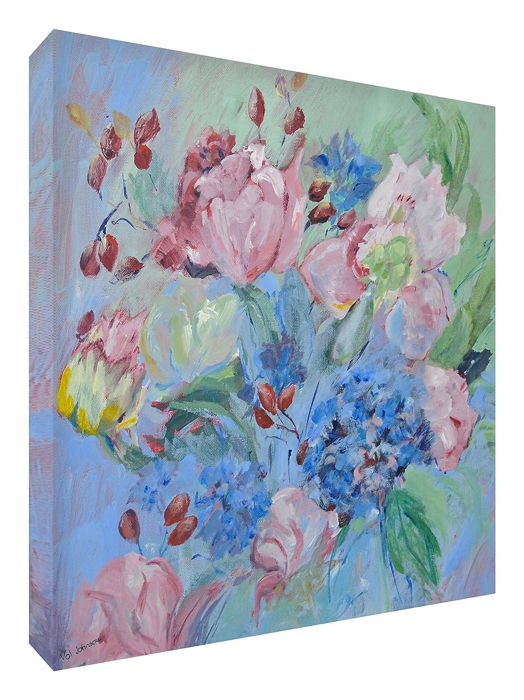 Feel Good Art Leinwand leuchtenden Farben gehören des Künstlers Val Johnson Posy von Rosen 96x 96x 4cm Größe XXL