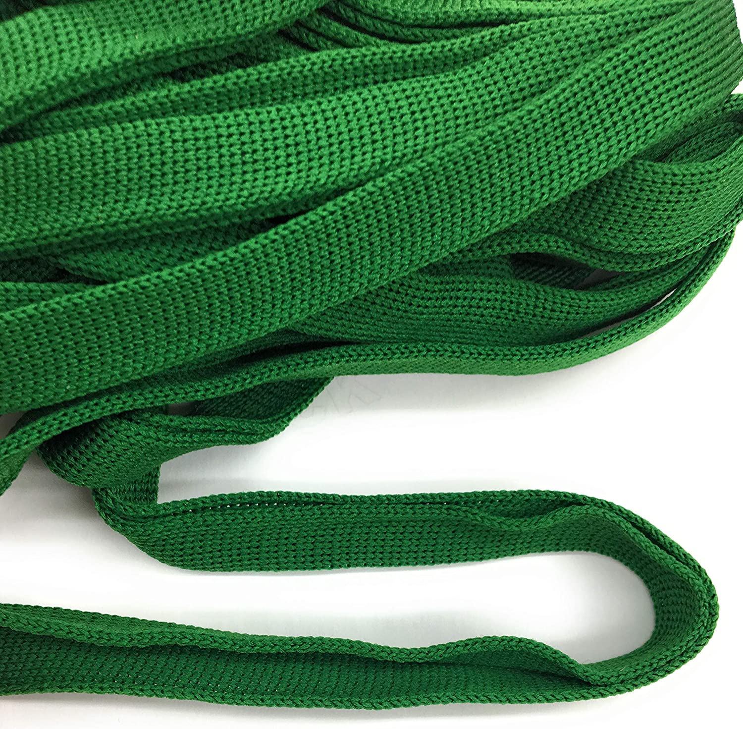 Classical Green FOLD Over -Knit- Braid Polyester Ribbon Trim 5 Yds Foldover Katz Trimming / Trims Unlimited