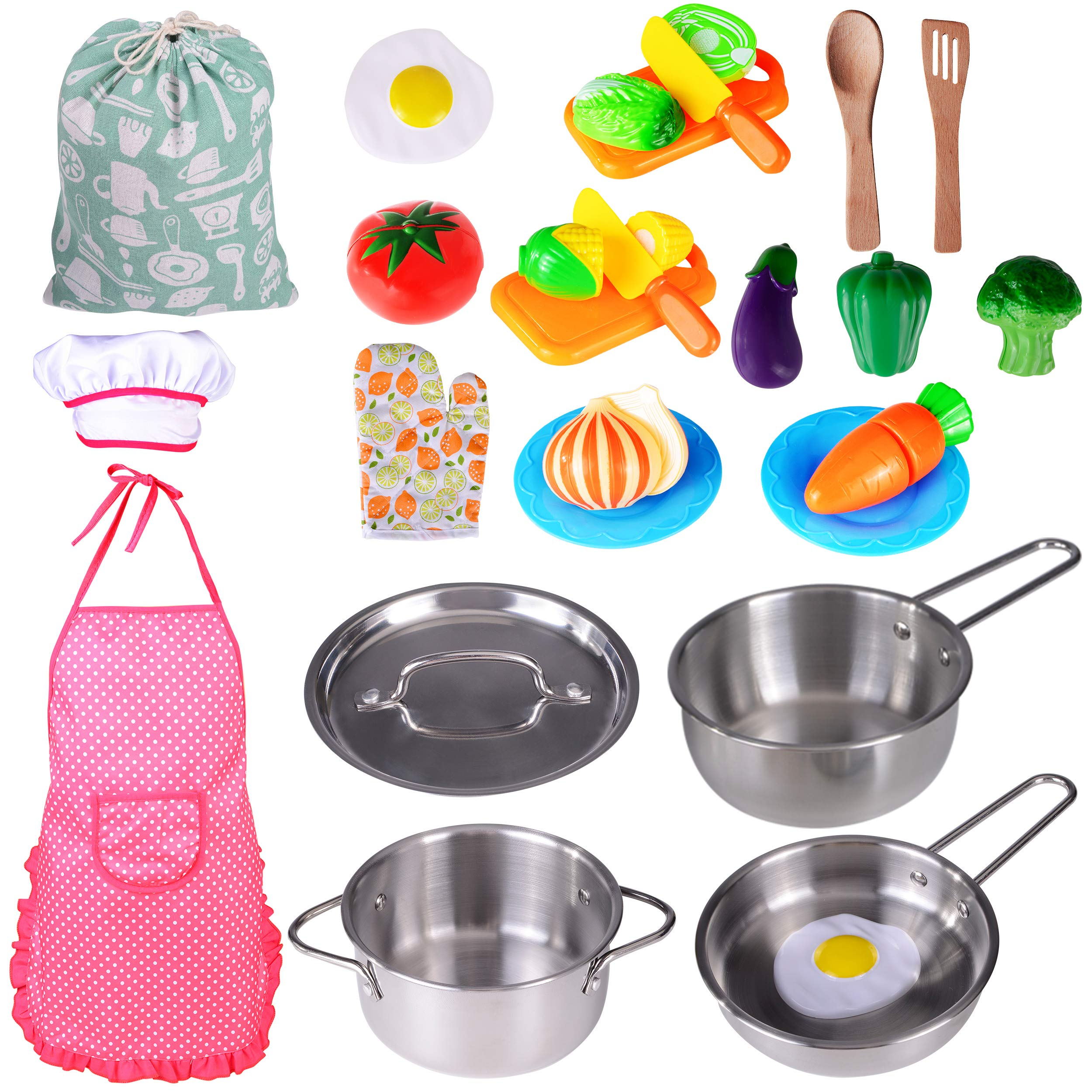 Kitchen Playset Accessories Toys - Stainless Steel Cookware Pots and Pans Set, Cooking Utensils, Apron, Chef Hat, and Cutting Play Food for Kids, Toddler and Boys Girls by KRATO