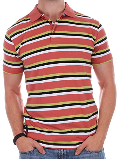23d49fe0635 Enimay Men's Casual Short Sleeve 100% Quality Cotton Striped Polo Shirt  Rugby Top Orange X-Large at Amazon Men's Clothing store: