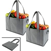 Clean Carry Reusable Grocery Shopping Bags - Large Collapsible Boxes with Strong Bottoms + Bonus Insert for Reinforcement (Set of 2)