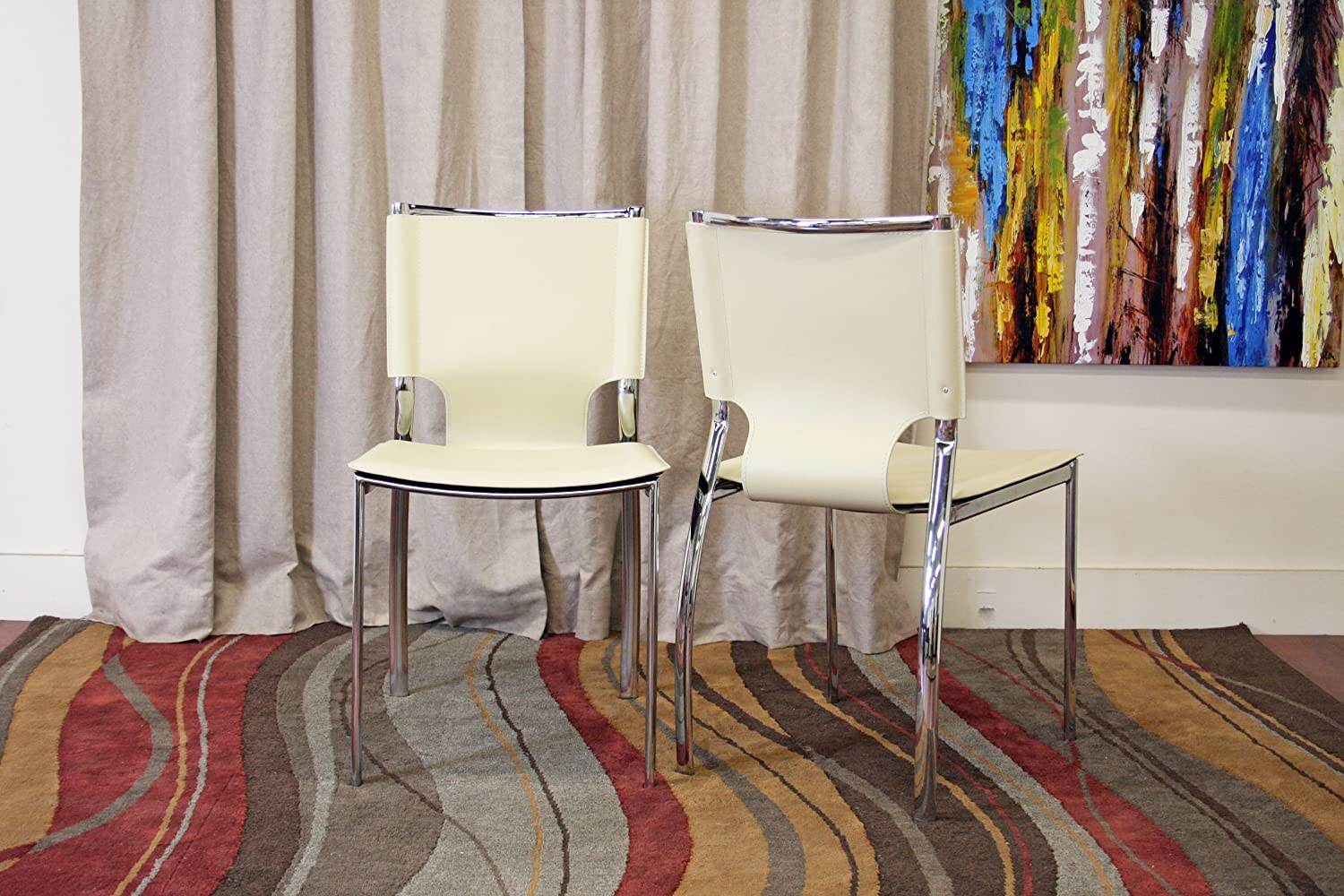 Amazon.com - Baxton Studio Montclare Ivory Leather Modern Dining ...