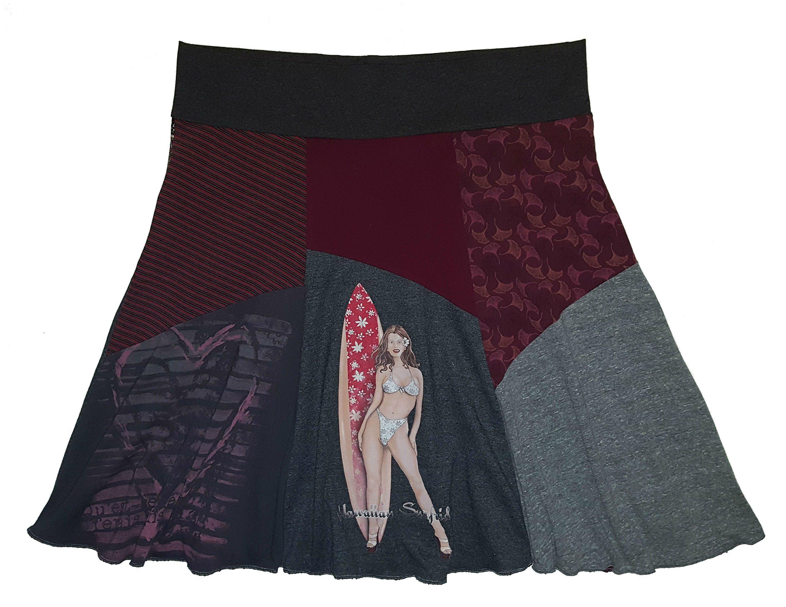 Plus Size Skirt Surfer Girl T-Shirt Women's 2X 3X One of a Kind Handmade Upcycled Skirt