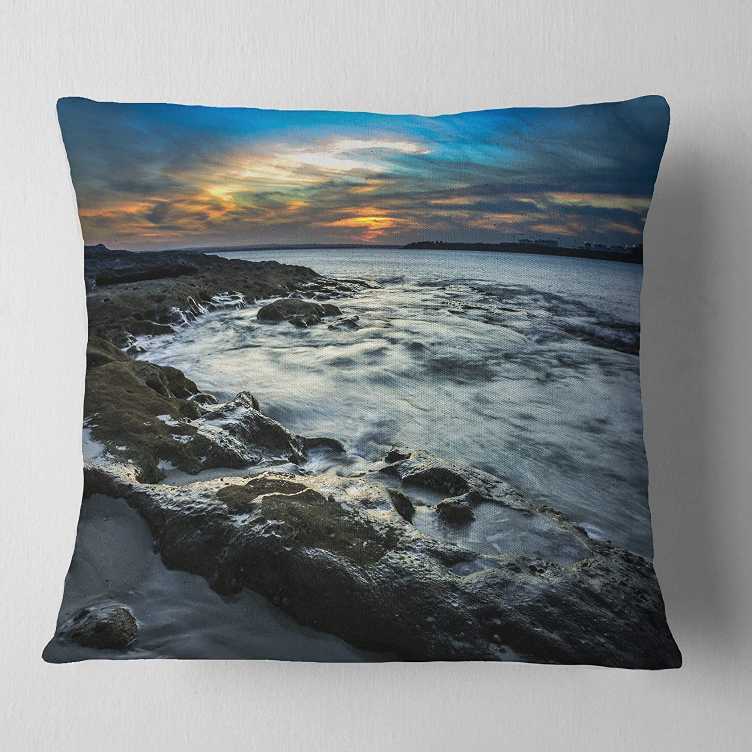 X 26 In Designart Cu10202 26 26 Fascinating Sunset At Australia Coastline Seashore Cushion Cover For Living Room In Sofa Throw Pillow 26 In Insert Printed On Both Side